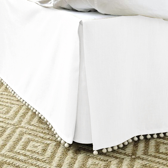 Free Shipping Hot Sale Hotel Bed Skirt Pompon Tassel5Colors Cotton Fabric For King/Queen/Full/Twin Size With 14