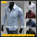 Wholesale Mixed colors&sizes Korean designer hound stooth contrasting new arrival slim fit cotton dress shirt for men QR-6005