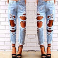 2015 five color available summer style high waist big ripped boyfriend jeans for woman women calca feminina beach street fashion