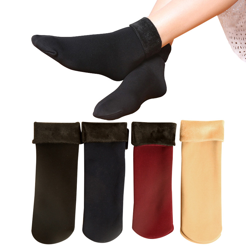 2 Pairs Women Winter Keep Warm Cashmere Thicker All-match Sock Solid Color Fashion Casual Short Ladies Socks Comfortable Meias