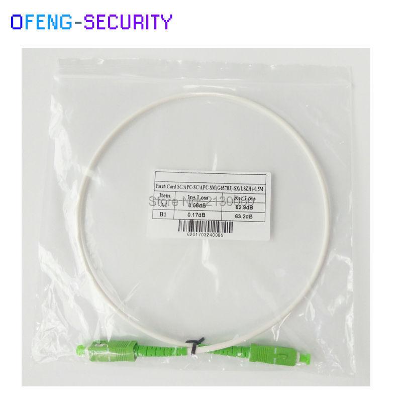 White Color Optic Jumper Optic Patch Cord SCAPC SM SX 0.5M G657B3