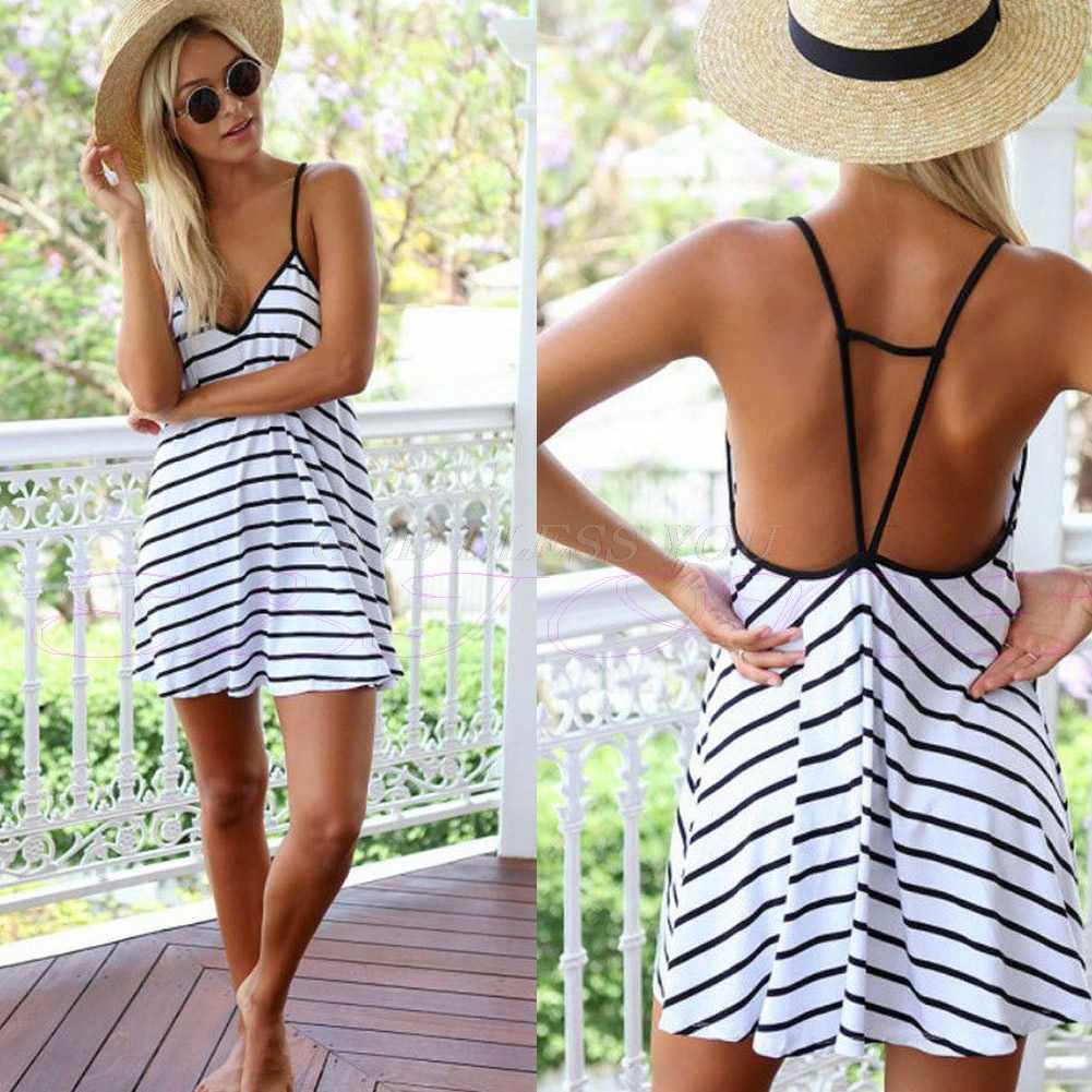 KLV Women Summer Beach Skirt 2017 Striped Sexy  Strap Sleeveless Short Beach Dress Plus Size Cover UP