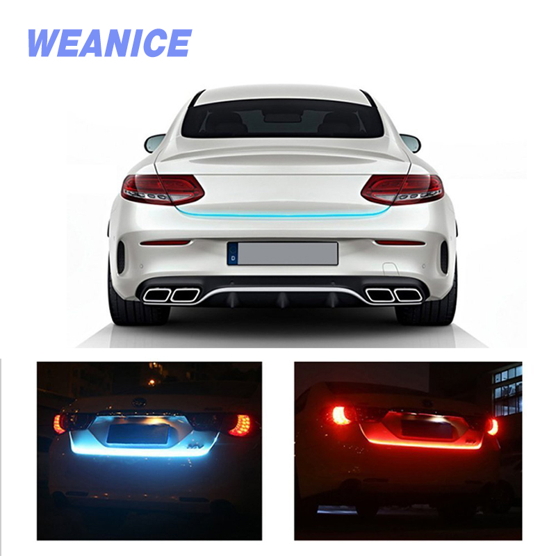 WEANICE LED Trunk Light Strip 12V Red Blue 120cm IP67 Car Styling Decoration Turn Signal Lights Auto Rear Warning Lamp