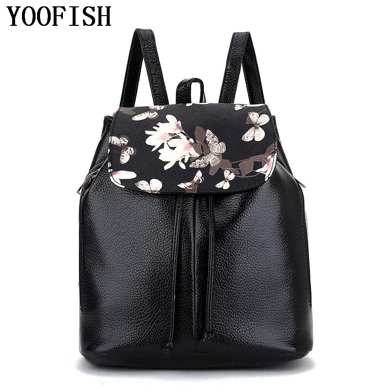 YOOFISH  Fashion Brand Womens Backpack PU Leather Backpacks Women`s School Bag Laptop Waterproof Travel