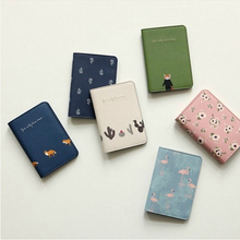 Cute Small Fresh Animal And Plant Travel Passport Holder Short Set Certificate Package 6 Color Optional