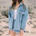 Mulheres jaquetas casacos de 2016 Nova moda jeans Jaquetas Mulheres Denim Casaco para mulheres Casacos Outerwear jaqueta senhoras fino de algodão sólidos