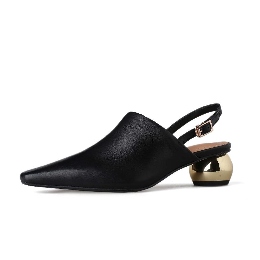 Lenkisen luxe schapen lederen gesp riem metalen med hakken slingback vrouwen pompen vierkante neus elegante dame modeshow schoenen L65-in Damespumps van Schoenen op  Groep 2