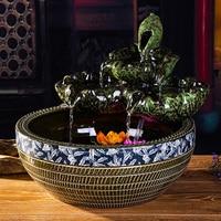 Ceramic water fountains ceramic ornaments lotus room Zhaocai waterscape decor Home Furnishing aquarium humidifier