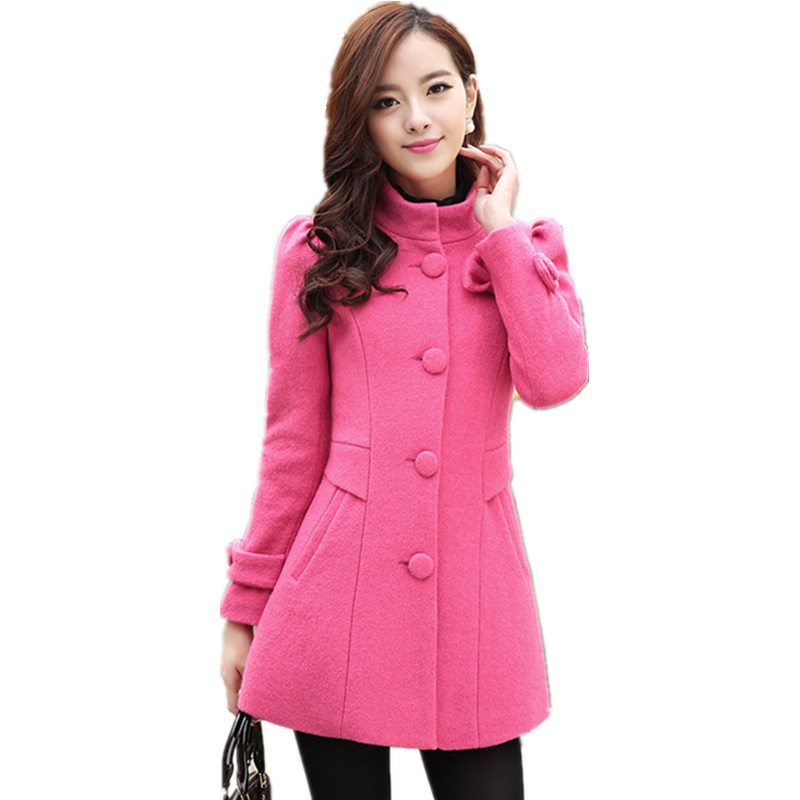 New 2018 fashion winter women warm woolen coat Bow single breasted Elegant long sleeved slim women thick woolen outerwear LCY24