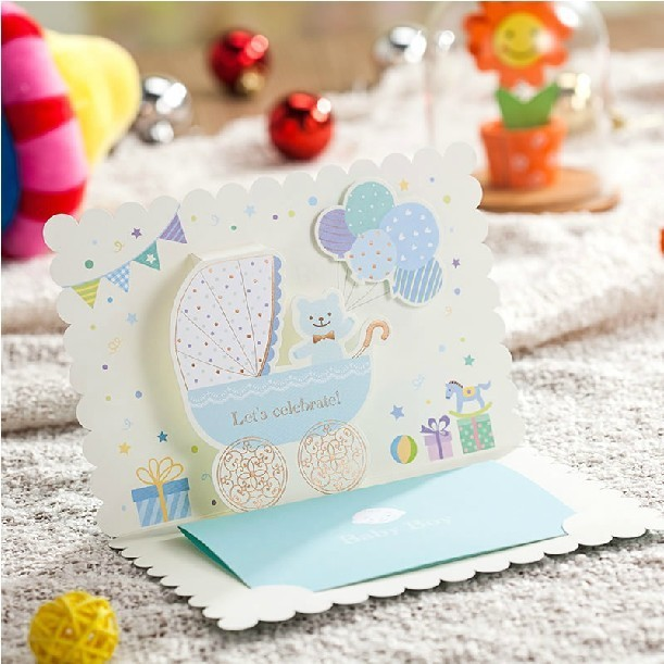 3D Blue Baby Birthday Invitations 2015 Lovely Invitation Cards For Boy Party Decoration Shower With