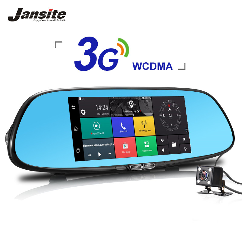 3G Car Dvr Android 5.0 Camera 7 Touch screen GPS car video recorder Bluetooth Wifi  rearview mirror Dash Cam Car Dvrs Jansite 2016 new 5 0 touch android bluetooth dash camera parking car dvr rearview mirror video recorder vehicle gps navigator free maps