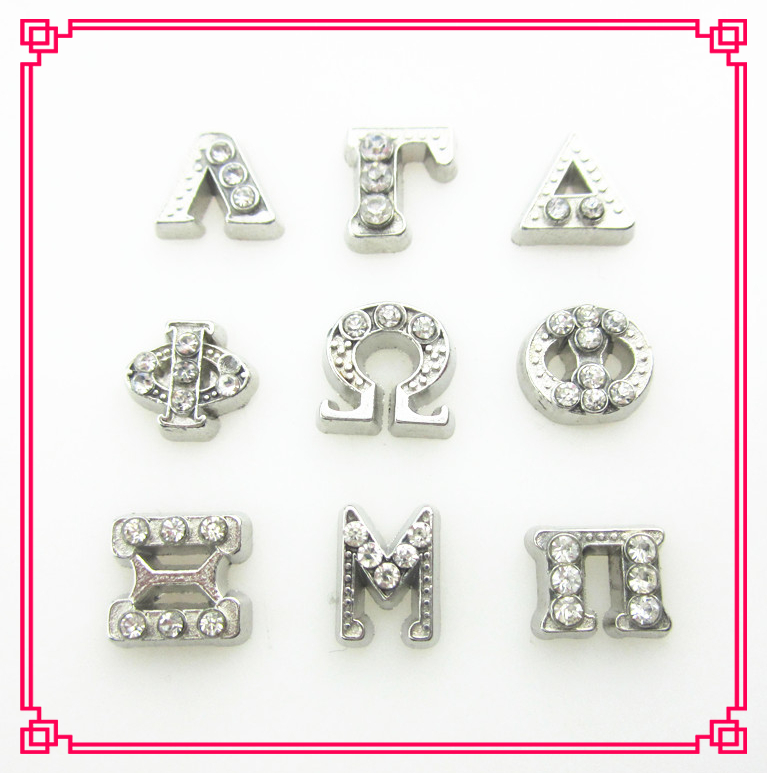 new arrive 90pcslot mix 7 different crystal greek letter floating charms living glass floating