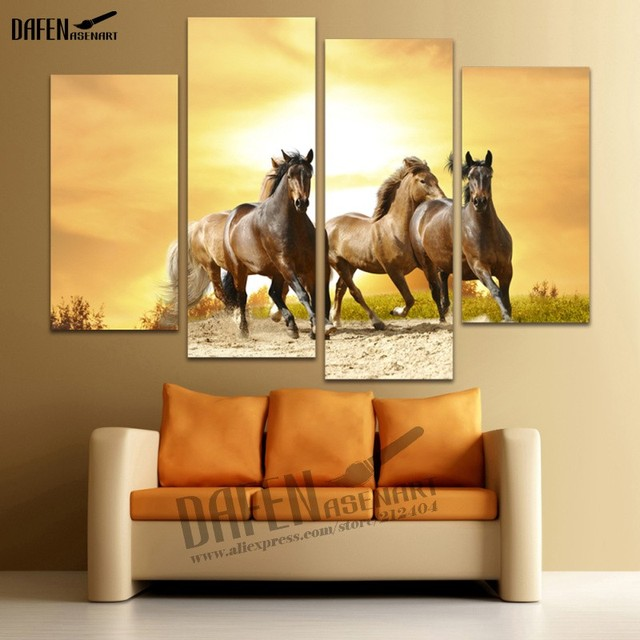 Modern Wall Painting 4 Panels Animal Picture Running Horse Painting ...