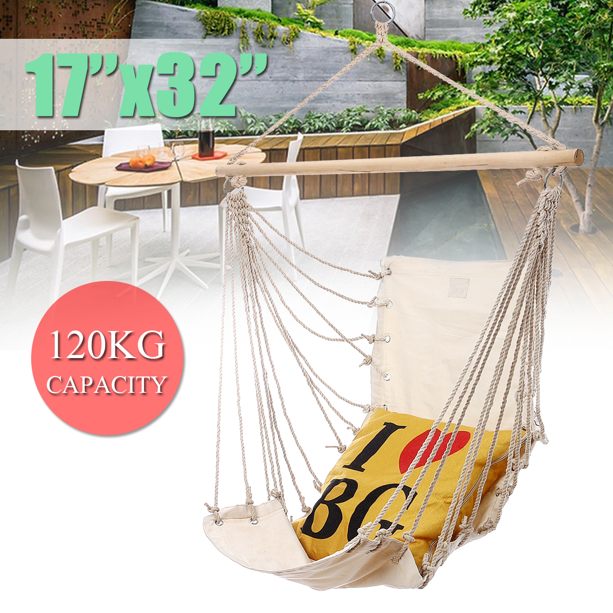 SGODDE Outdoor Garden Hanging Hammock Chair Camping Single Swing Seat Relaxing Furniture For Child Adult Swinging Safety Chair
