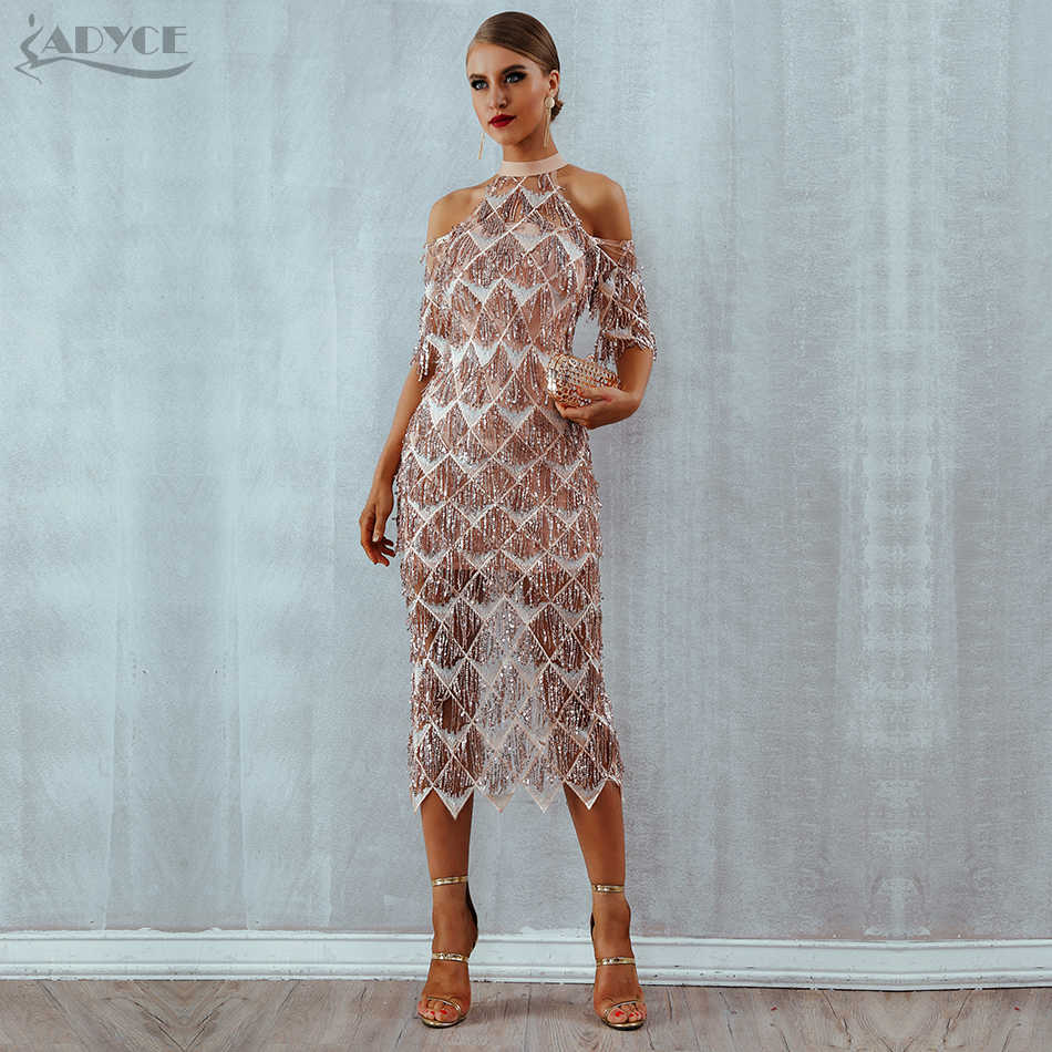 2036599d46 Adyce Elegant Sequins Evening Party Dress Vestidos Verano 2019 New Mesh  Runway Dress Sexy Night Club Tassels Woman Fringe Dress