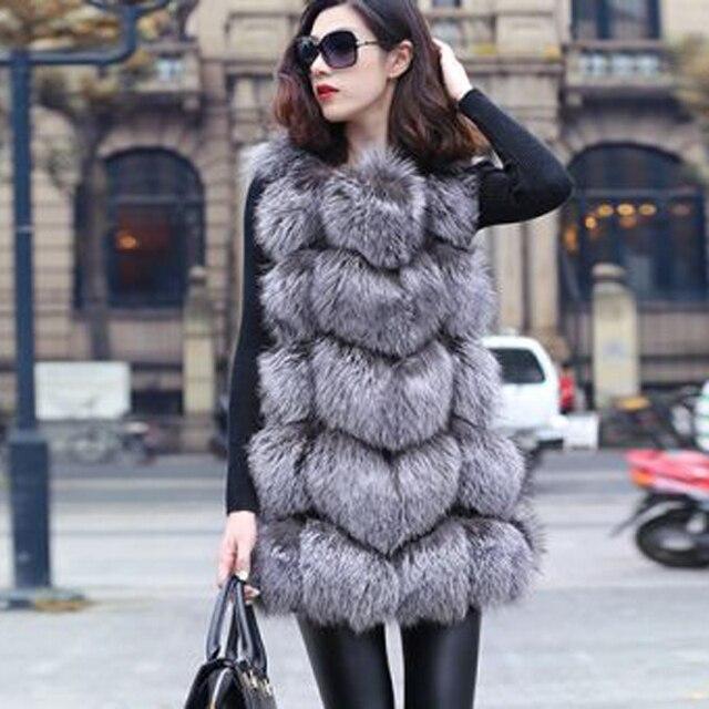 Новый 2015 зимнее пальто женщин мода импорт пальто всего пил лиса меховой жилет высокого класса Cappa шуба отдых женщин пальто