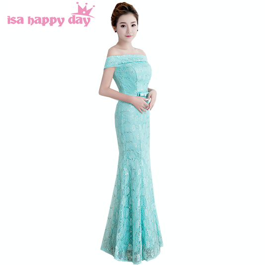 Pretty Mint Blue Ivory Mermaid Bridesmaid Dresses Size 2 Womans Vintage Bridal Gowns Deep Red Party Dress Boat Neck H3917