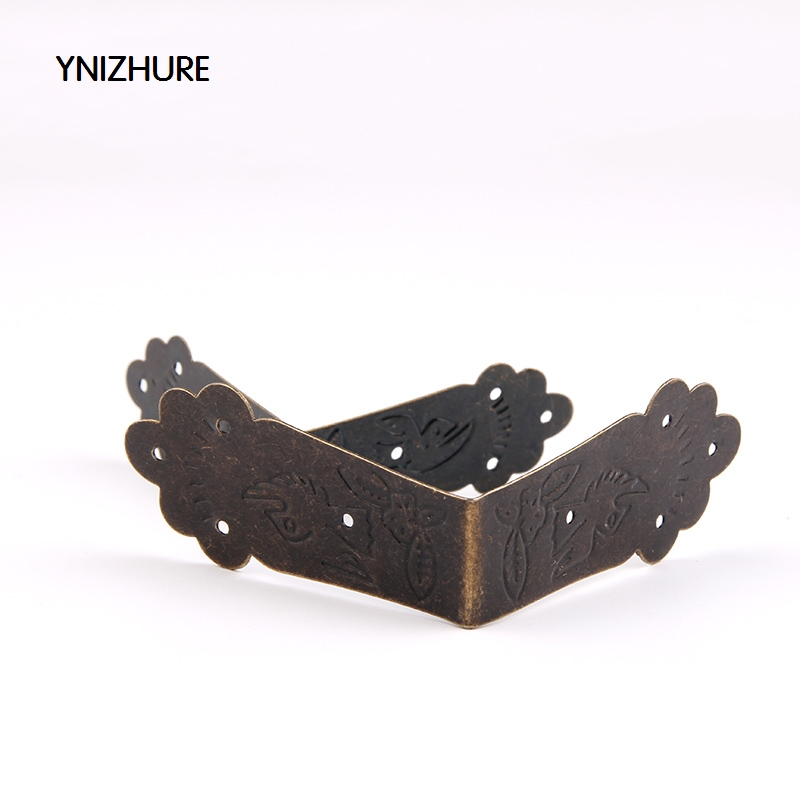 50pcs Antique package edge Wooden Gift box Decorative corner Protection code Wrapping Edge banding Right angle lhx p0fh08 1 40 4mmhardware 4pcs 4 color antique angle packaging bag crashproof packer corner gift trumpet flower wrap angle