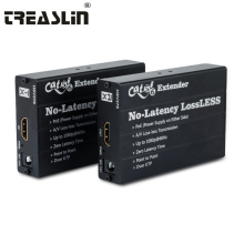 TreasLin Lossless HDMI Extender PoE HDMI Transmitter HDMI Receiver Over Single Cat5e Cat6 Up to 100 Meters for Digital Signage