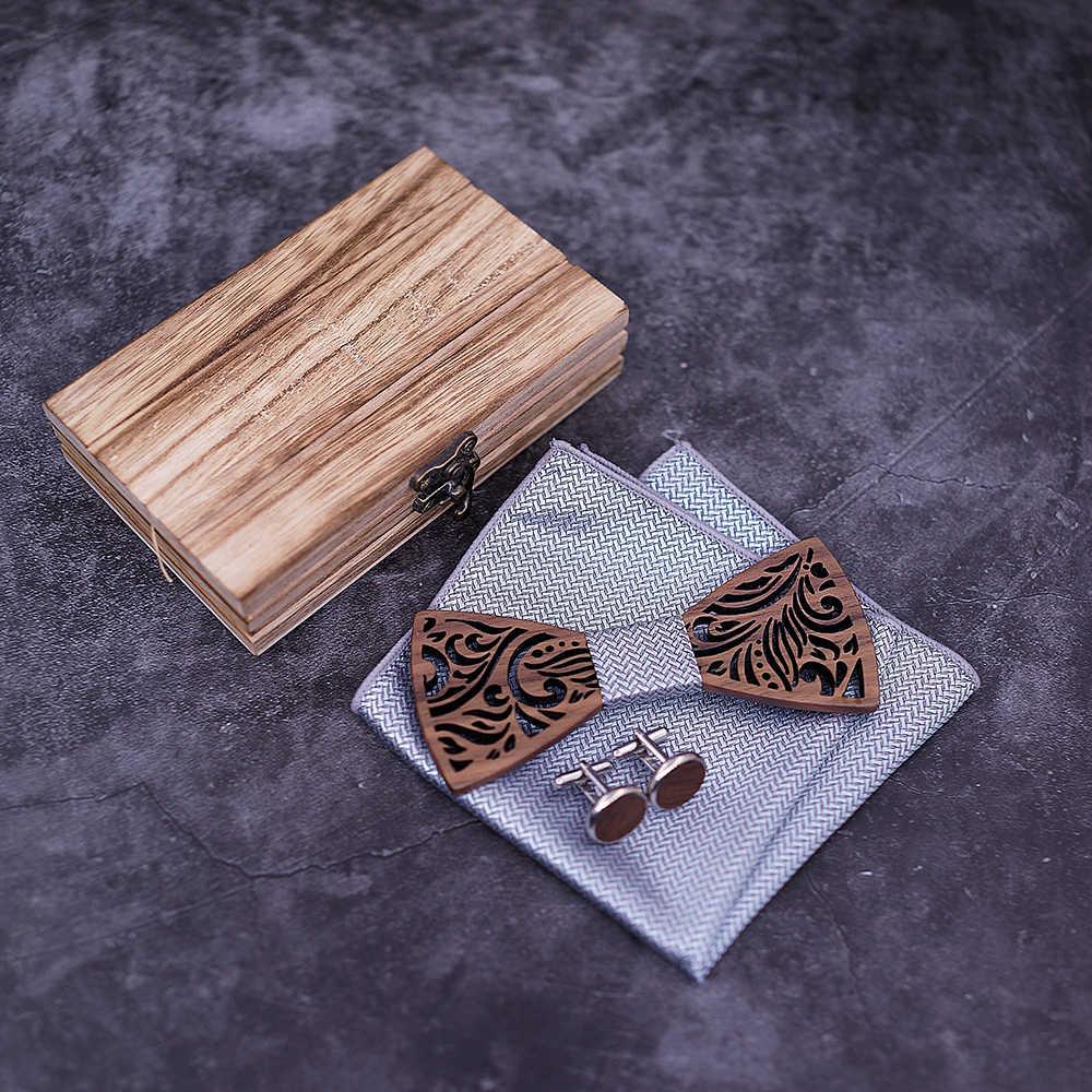 Muszka drewniana i chusteczka muszka krawat krawat Homme Noeud Papillon Corbatas Hombre Pajarita prezent dla mężczyzn Chirstmas