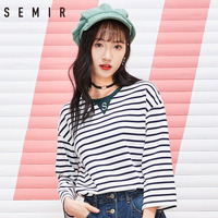 SEMIR women T shirt trend round neck pullover thin 3/4 sleeve clothes embroidery striped clothes loose tshirt for female
