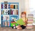 Homdox Bookcase 4 Shelf Storage Bookshelf Furniture Adjustable Folding Book Shelving Portable Book Case