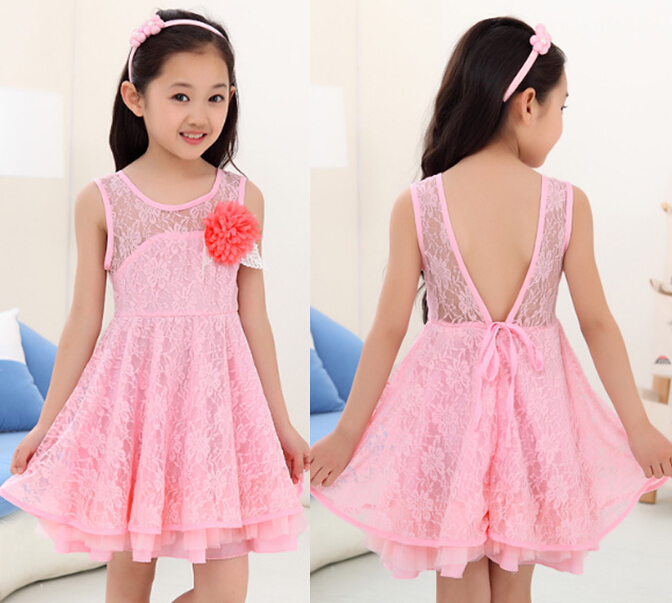 New Summer Style Girls Fashion Flower Pink Lace Wedding Party Princess Dress 3 12 Age Kids