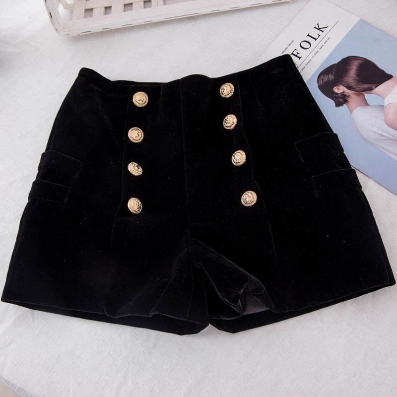 Autumn And Winter Fashion Sexy Women Slim High Waist Shorts Hot Shorts Casual Solid Skinny Side Zipper Button 2019 Hipster Short