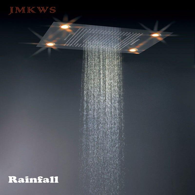 Big Shower Bath Ceiling Mounted LED Shower Head 80*60CM SPA Rainfall Waterfall Water Curtain Bathroom Showerhead Fixture SUS304