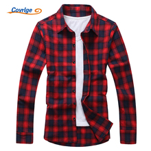 Covrlge 2017 Spring Men Long Sleeve Shirts Men's Plaid Shirt Fashion Slim Fit Male Shirts Brand Clothing Mens Clothes MCL005