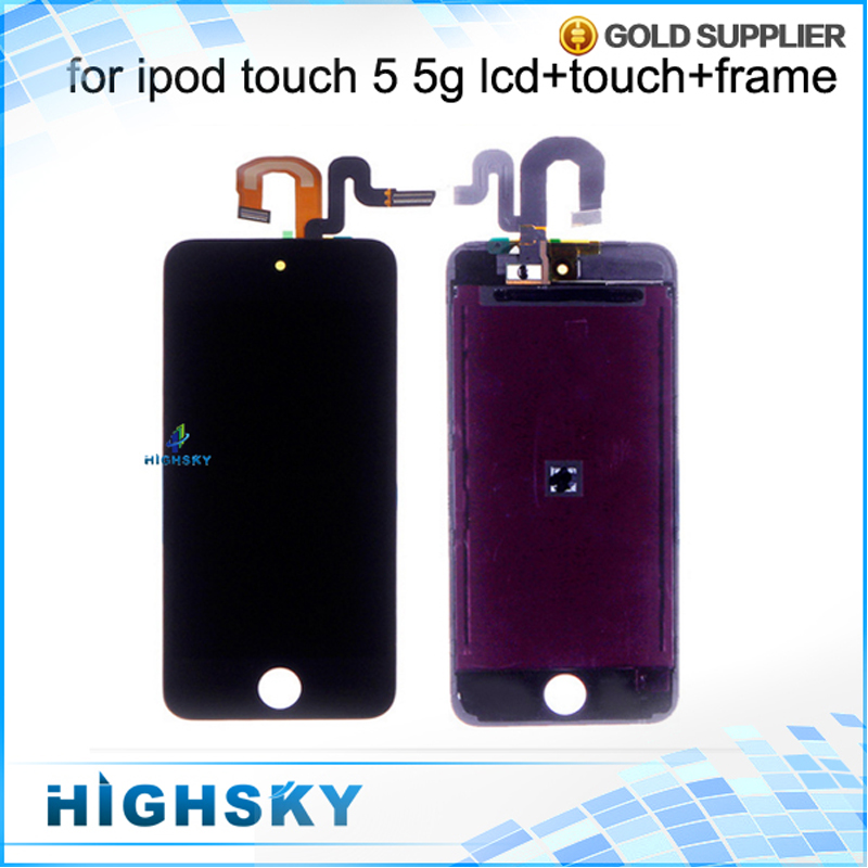 10 pcs/lot Free DHL EMS Black White New Test For Apple iPod Touch 5 5th LCD 5th Display Screen With Touch Digitizer Frame