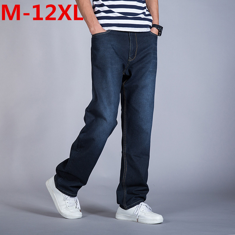 Spring Summer Mens Denim Loose Fit Straight Jeans Pants Thin  Blue Classic Cowboy Trousers Large Plus Size 12XL 11XL 10XL 9XL8XL