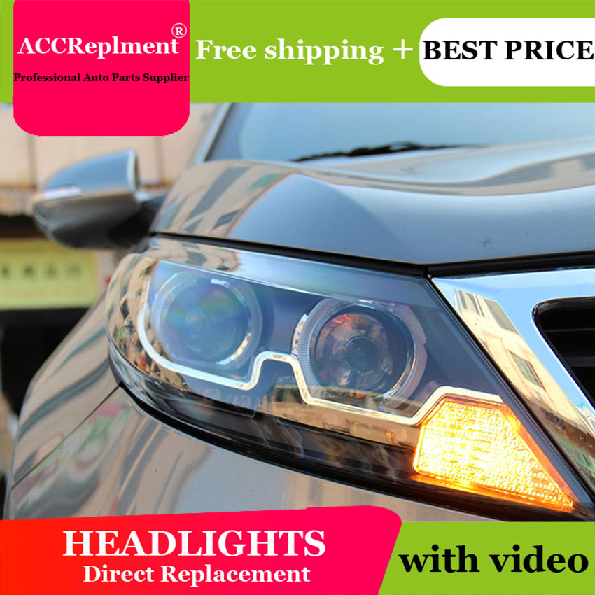 Car Styling For Kia Sportage R headlights 2011-2013 Sportage Headlight 2011-2013 Angel eye led drl H7 hid Bi-Xenon Lens low beam цена