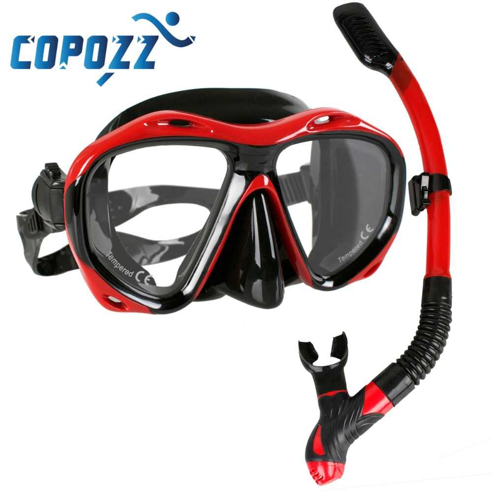 Copozz di Marca Professionale Scuba Diving Mask Snorkel Maschera Attrezzature Occhiali Occhiali Diving Nuoto Facile Breath Tubo Set