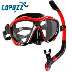 Copozz di Marca Professionale Scuba Diving Mask Snorkel Maschera Attrezzature Occhiali Occhiali Diving Nuoto Facile Breath Tubo Set