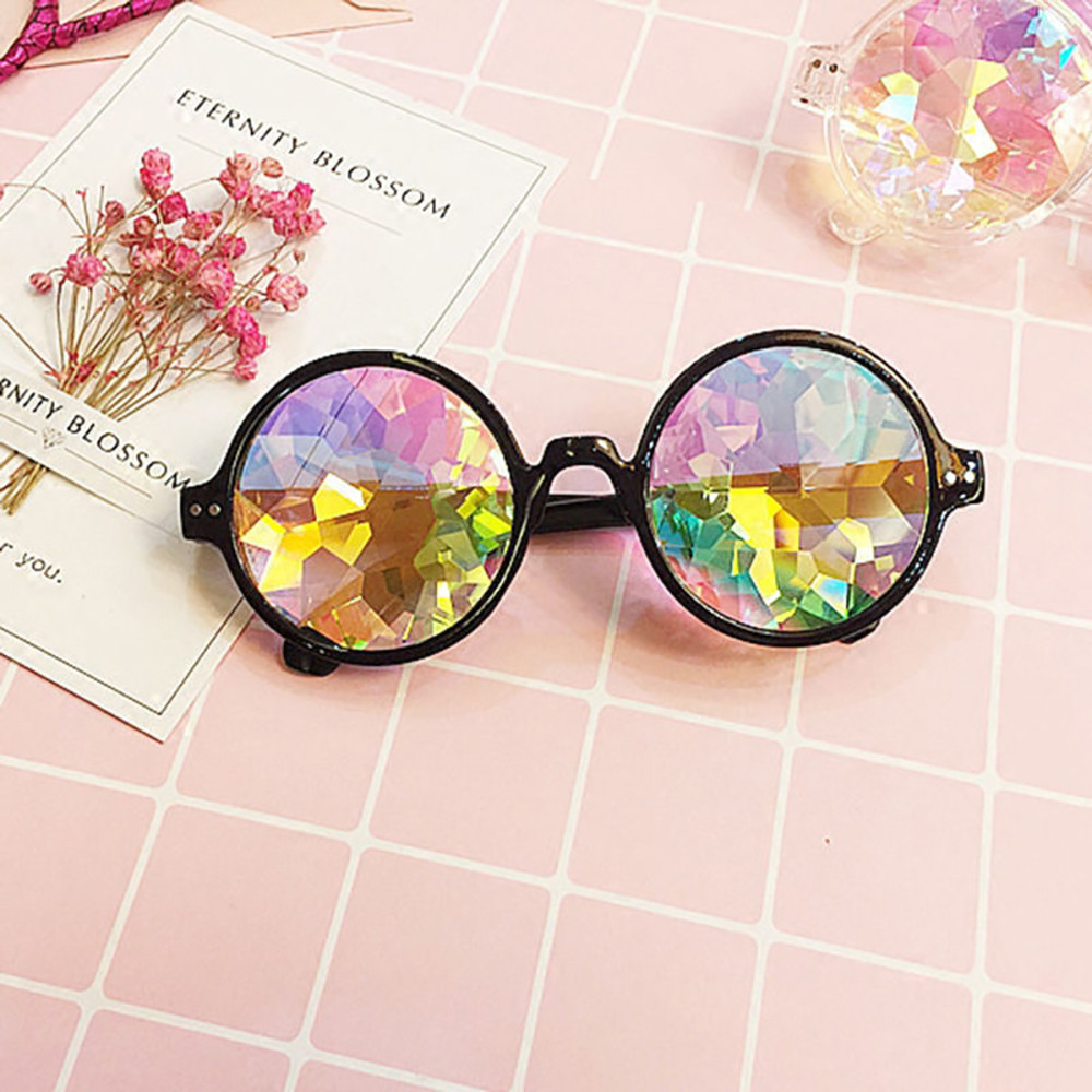 Fashion Glasses Rave Men Round Kaleidoscope Sunglasses Women Party Psychedelic Prism Diffracted Lens Edm Sunglasses Female #