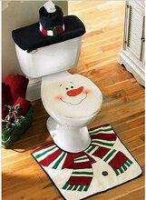 2016 Christmas Decoration 3pcs/lot Santa Toilet Seat Covers Rug Merry Christmas Ornament Bathroom Se Santa Claus