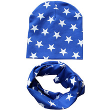 Оптом дешевле младенческой Кепки шляпа хлопковый шарф вязать ребенка Кепки s звезда детские шапки и шарфа Рождественский подарок комплект Весна-осень-зима