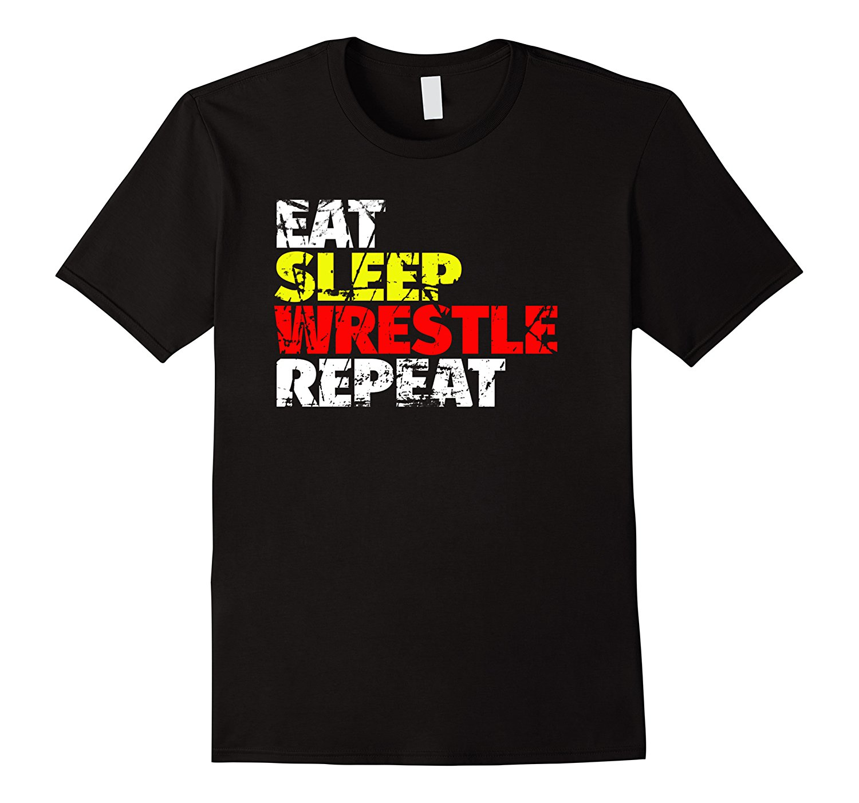 Eat Sleep Wrestle Repeat T Shirt Funny Wrestling Tee Short Sleeves Cotton Fashion T-Shirt Free Shipping  T Shirts Men Casual