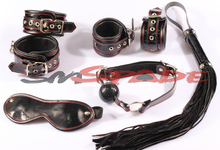 100% real leather bondage kit sex toys adult sex product for couples sex game bedroom restraint kit handcuffs whip gag