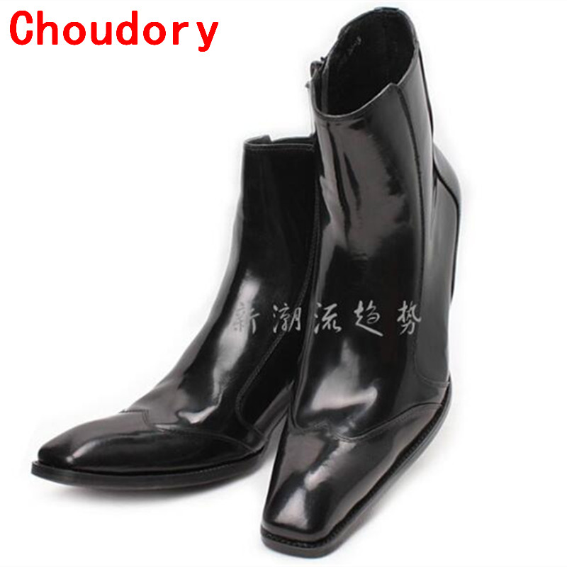 Fashion Men Boots Shoes Genuine Leather Zippers Square Toe Classic Men Dress Shoes Boots For Male Italian Shoes size12