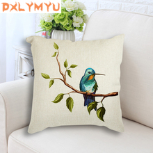 Watercolor Bird Tree Leaves Animals Cushion Cover Cotton Linen Throw Pillow Cover Cushion Case Sofa Decorative Pillow Cover good mood watercolor circle with cross cotton and linen pillow case(without pillow inner)