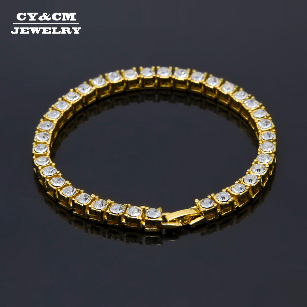 """8"""" Hip hop Men Luxury Bracelet Bangle Silver Gold Iced Out 1 Row 5mm Rhinestones Chain Bling Crystal Bracelets for Women Jewelry"""
