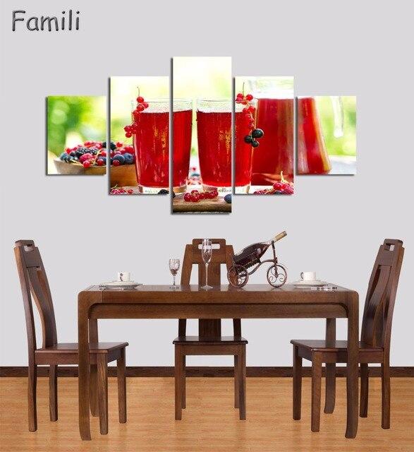 5 Stück Red Wall Art Malerei Bunte Verschiedener Gemüse Bildleinwand Food  Das Bild Haus Dekor