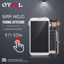 купить OTMIL 5.5AMOLED For SAMSUNG Galaxy Note 2 N7100 LCD Touch Screen with Frame Digitizer For SAMSUNG Note 2 Display N7105 i317 #1 дешево