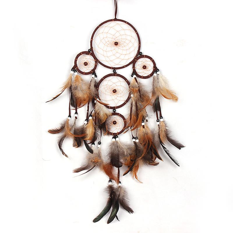 Dream Catcher Wall Hanging Home or Car Decoration Bead Ornament with Feather Handmade