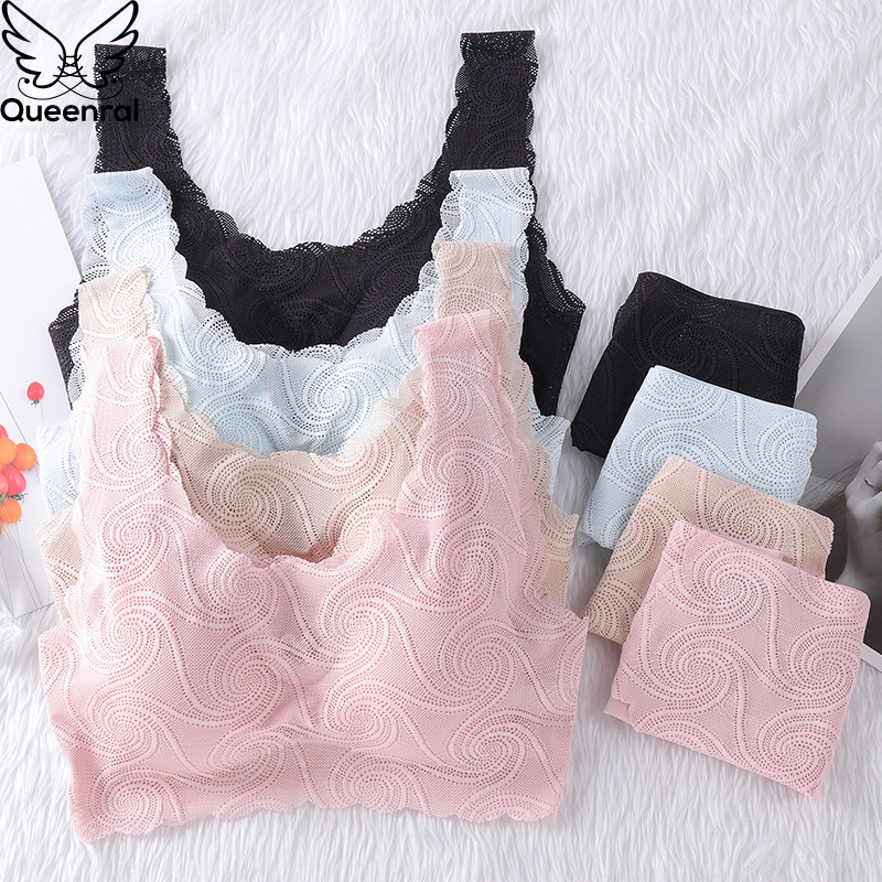 Queenral Seamless Bra Set For Women Lingerie Set Bra And Panty Set Sexy Lace Briefs Suit Wireless Breathable Underwear Set