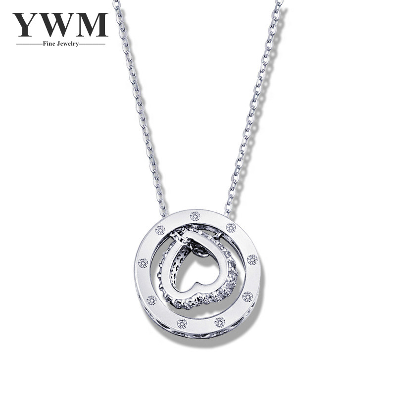 YWM 925 Sterling Silver Love Double circles Necklace