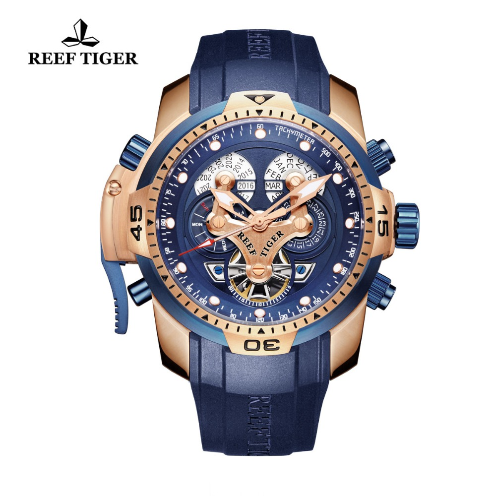 Reef Tiger/RT Mens Military Watch with Year Month Week Day Calendar Rose Gold Complicated Blue Dial Automatic Watches RGA3503