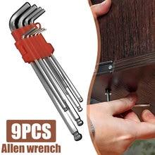 9pcs 200mm Hexagon Allen Key Wrench Tools set imbus Matte Chrome Ball End Spanner set Screwdriver Set Tool Kit